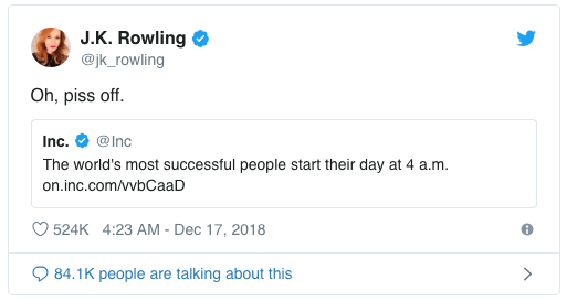 JK Rowling tweet for entrepreneurs